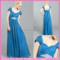 HM0105 Latest New Fashion OEM wholesale high quality cap sleeve floor length beach bohemian style blue mother of the bride dress