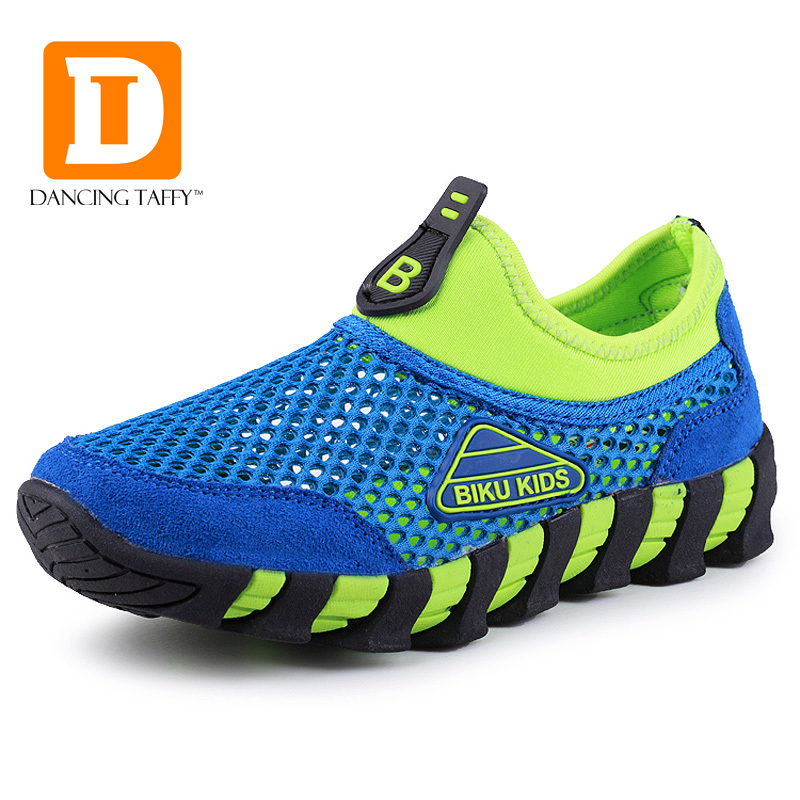 2015 New Summer Breathable Children Shoes Air Mesh & Genuine Leather Kids Sneakers Casual Girls Boys Toddler Sport Running Shoes