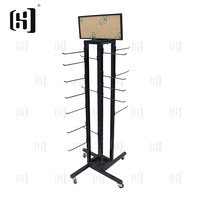Fashion metal slippers display stand rack with wheels