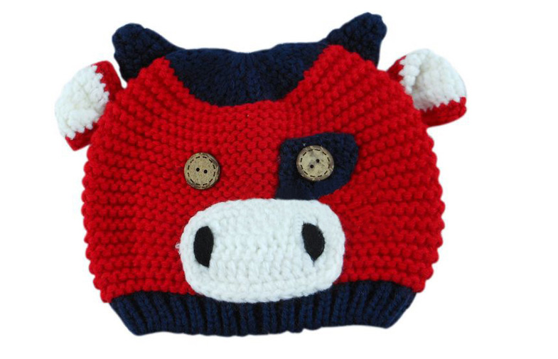 Kids crochet pig caps lovely baby kintted caps child warm winter caps hats