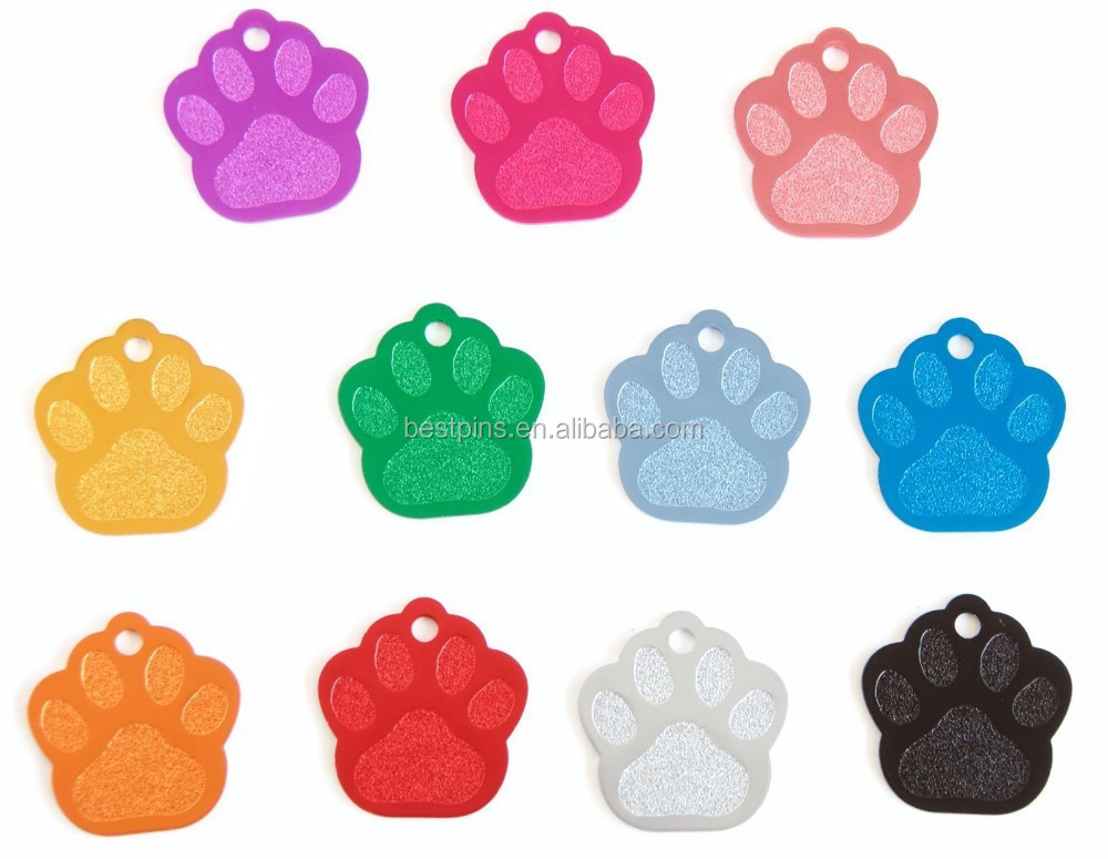 custom pet tag ID dull polish paw print dog tag collar engraved cat tags