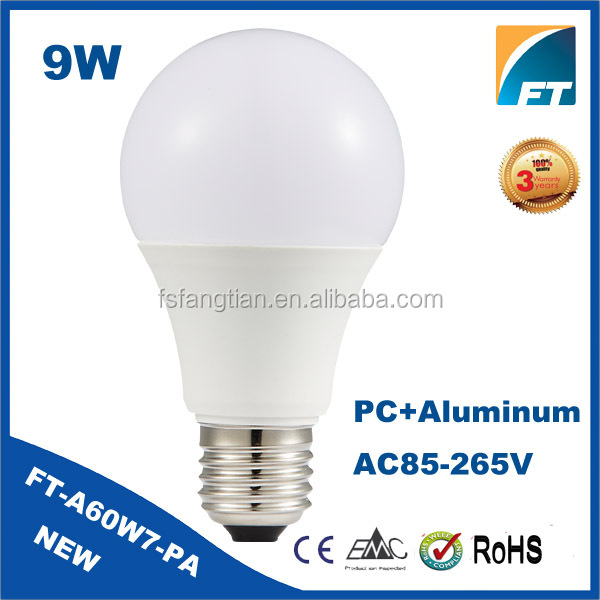 China hot sale high quality 2700k 2835 led lamp e27 9w with CE RoHS Approved