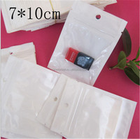 7*10cm White / Clear Self Seal Zipper Plastic Retail Packaging Bag Zip Lock Pouches Retail Pack With Hanging Hole