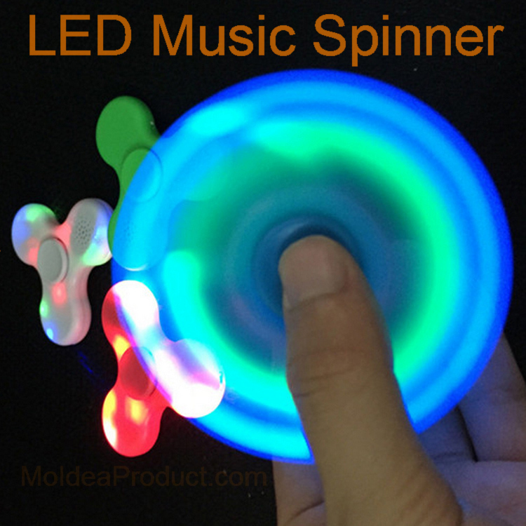LED Music Hand Spinner - Bluetooth Speaker Built in Fingertip gyroscope LED Light Tri-Spinner Anti Stress Fidget Spinner