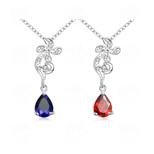 Silver Plated Copper Neckalc Luxury Ruby Sapphire Zircon Wedding Flower Shaped Jewelry Necklaces For Bridal Mom