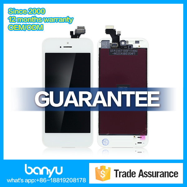 High quality white digitizer assembly replacement lcd display for iphone 5 screen