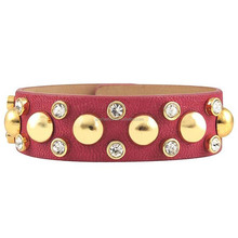 Metal snap leather bracelet with diamonds