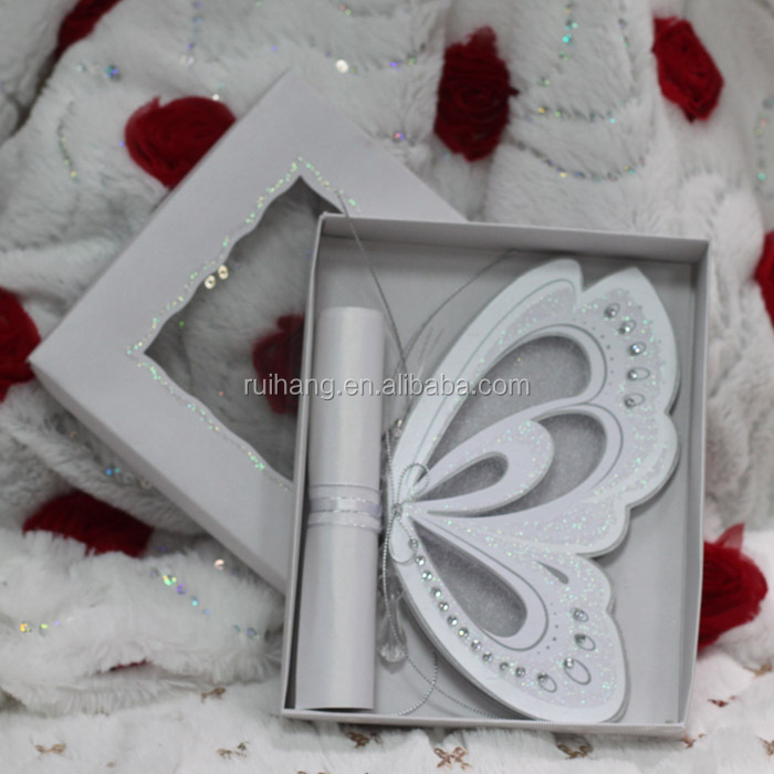 Hot sale luxurious elegant white laser cut butterfly scroll wedding invitations