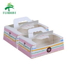 yiwu paper box factory made multi size fast food packing take out printed handle paper box sets wholesale with window