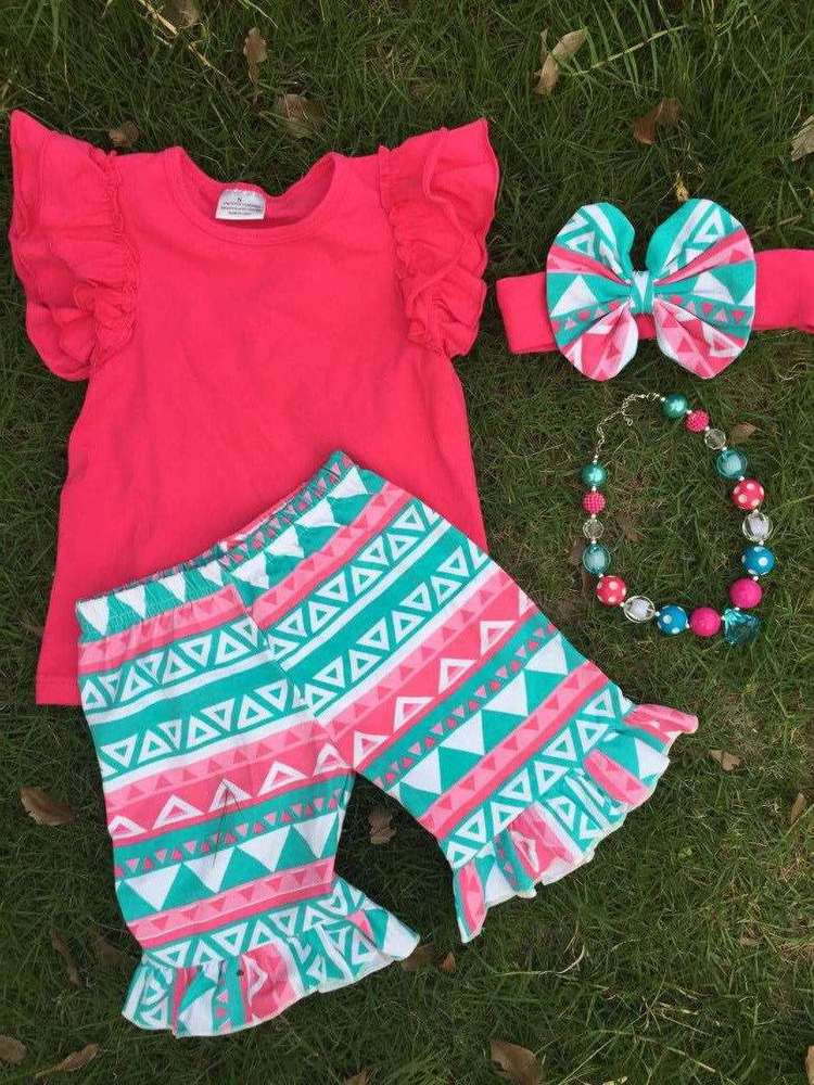 aztec Baby girls outfits summer boutique short sets ruffle shorts set summer teen girl clothing sets girls boutique clothes