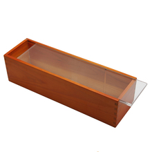 Natural wooden rectangular sliding acry lic lid wine single bottle packaging box