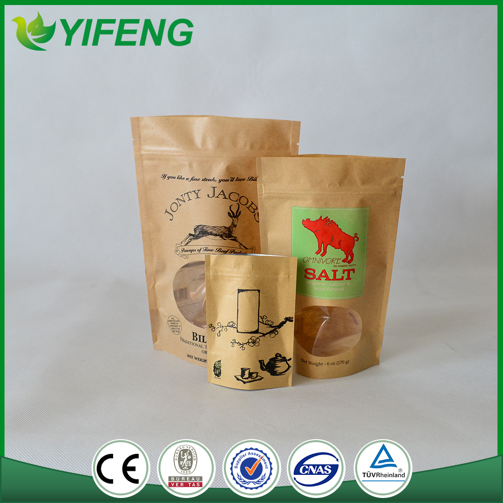 Manufacturers brown kraft paper bags for cotton candy with clear window