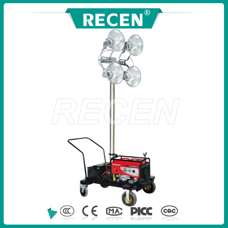 50m remote control 4*400w MH/HPS Mobile generator light tower, portable lighting tower