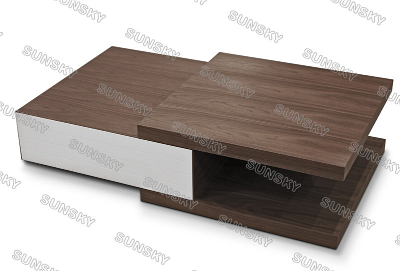 Factory directly sell high glossy white and walnut modern coffee table 2015Y