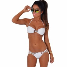 Pure White Hollow Out Removable Padded Hot Women Wearing Micro Bikinis