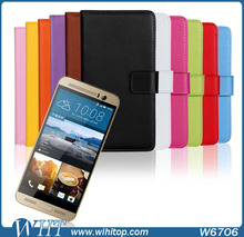 2015 New Products Wallet Real Leather Flip Stand Mobile Phone Case Cover for HTC One M9