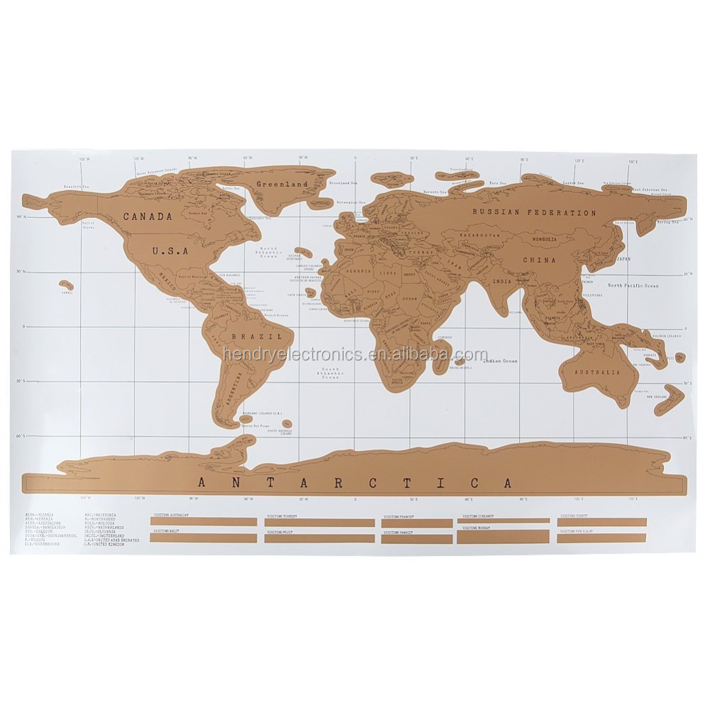 88x52CM Gold Foil Map of the World with White Background