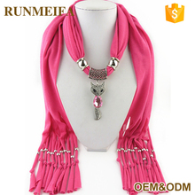 Top Fashion Owl Pendant Jeweled Chinese Scarf Wholesale