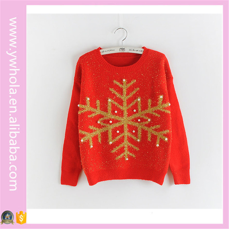 2016 Cheap Snow Flower Sequined Round Neck Ugly Christmas Sweater Designs for Girls