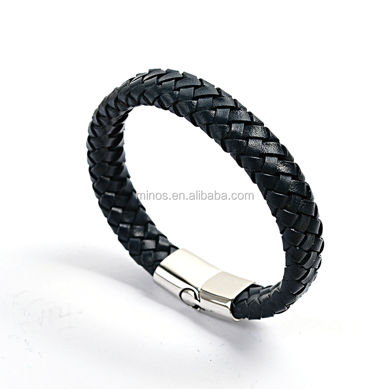 Fashion Men Jewerly Genuine Leather Bracelet with Stainless Steel Summer Style Bracelet Bangle