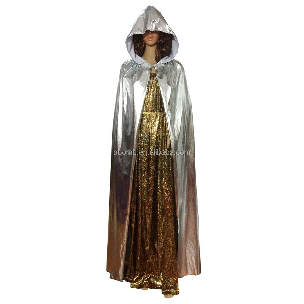 A-bomb Fashion Golden Silver Hooded Cloak Halloween Witch Cloak God of Death Hooded Cape Adult Child Role Play Costume