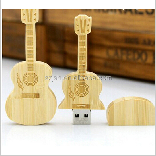 Hot Sale Wooden Guitar Shape USB 2.0 Flash Drive with Free Logo For Promotion Gift