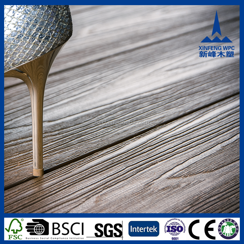 Popular WPC 140x30mm decking, durable wood polymer composite fibra deck board