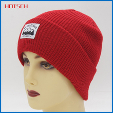 fashion 100% acrylic red knit winter hats with logo