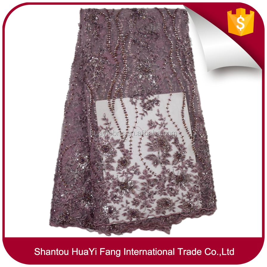 New fashion sequence lace fabric dubai embroidered tulle fabric with beads FB0062