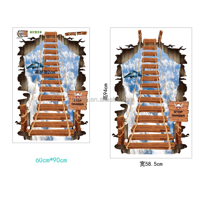 3D Creative Broken Wall Effect Stairway Pattern PVC Floor Sticker