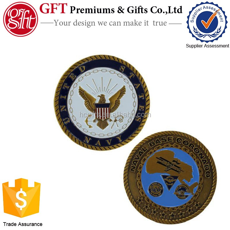 FREE artwork design FAST Production low moq soft enamel Navy Coin Naval Base Coronado