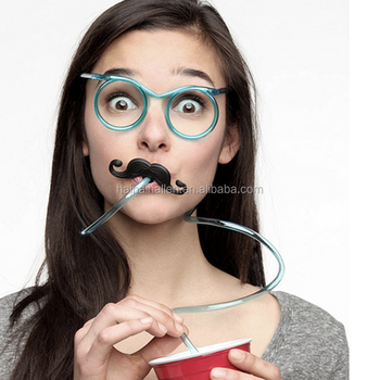 Bendable Shape-able Silly Glasses Drinking plastic Straw with mustache