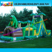Frog Prince Bouncer Slide Inflatable Trampoline,CE/UL Blower Inflatable Obstacle Course
