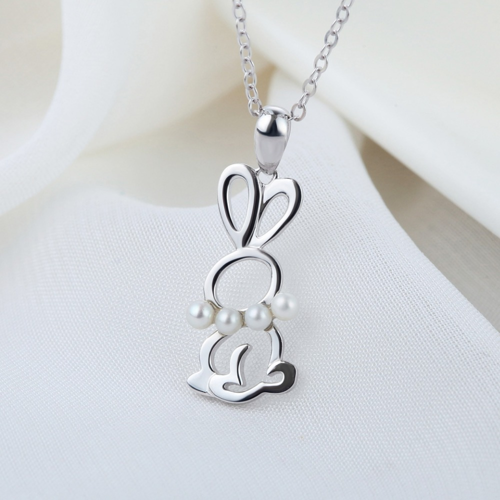 natural freshwater pearl pendants, 925 sterling silver creative design rabbit jewelry factory price