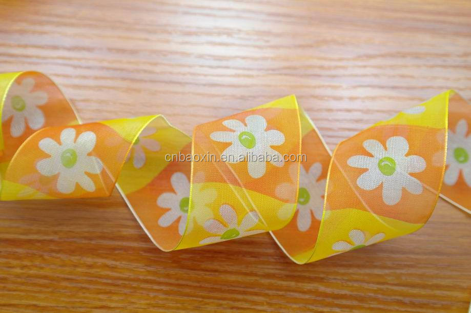 Factory supply printed sheer organza ribbon for gift packaging