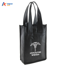 Wholesale Heavy Duty Custom Design Reusable Divided 2 Bottles Carrier Non Woven Wine Tote Bag