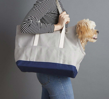 Grey canvas dog tote pet bag dog carrier