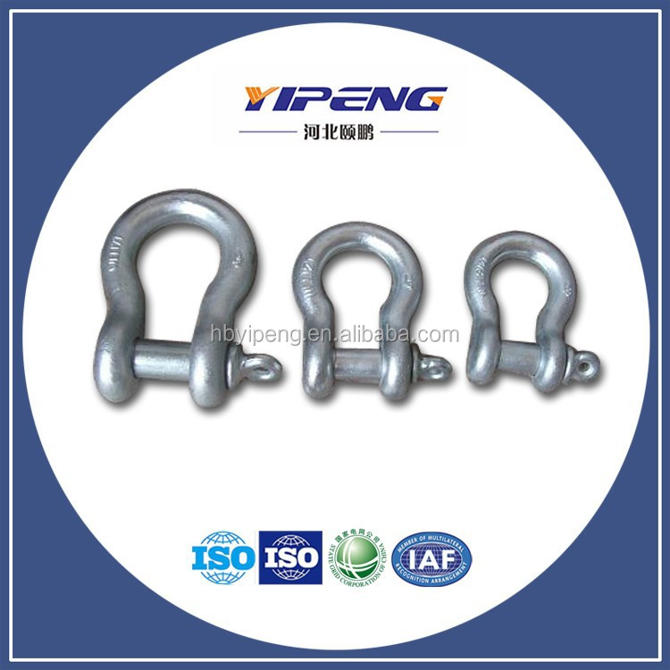 Galvanized Screw Pin US Type Steel Drop Forged D Shackle/ Screw Pin Anchor Shackle/Round Pin Anchor Shackle