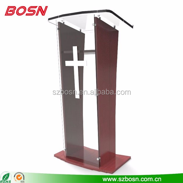 Acrylic Podium Lectern Pulpit Plexiglass Lucite clear Wood Shelf Frame