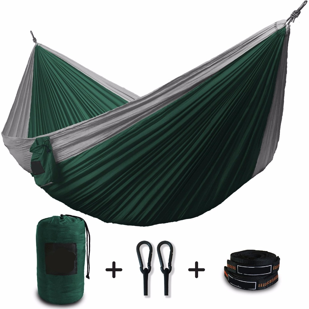 210T nylon portable parachute hammock with mosquito net