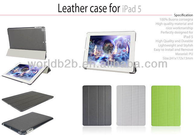 Four folded Thin & Smart Leather Case for iPad 5, for ipad air