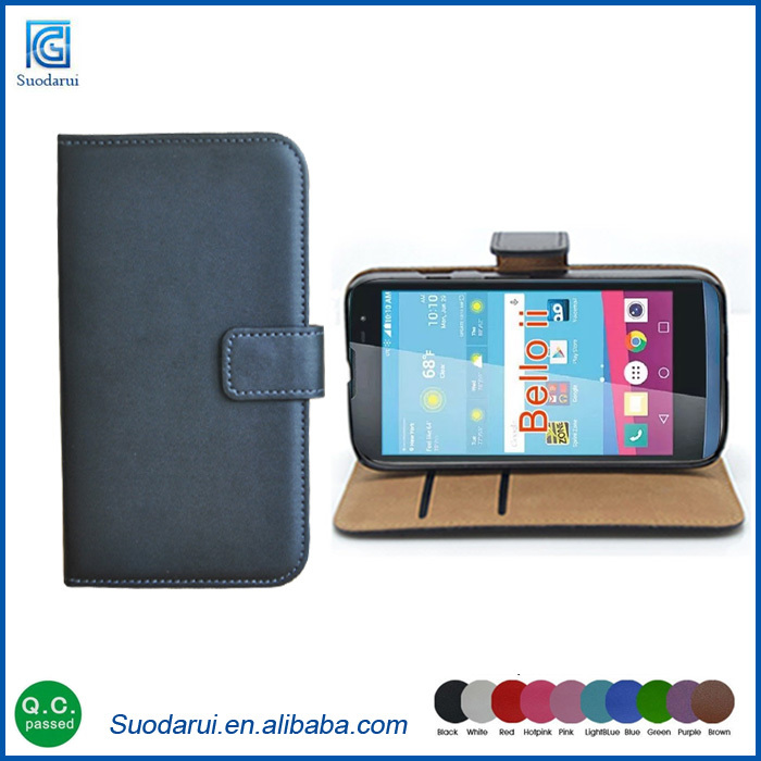 Bookstyle Leather Case Free Shipping For LG <strong>L</strong> Bello <strong>2</strong> With Card Slots Flip Cell phone Case