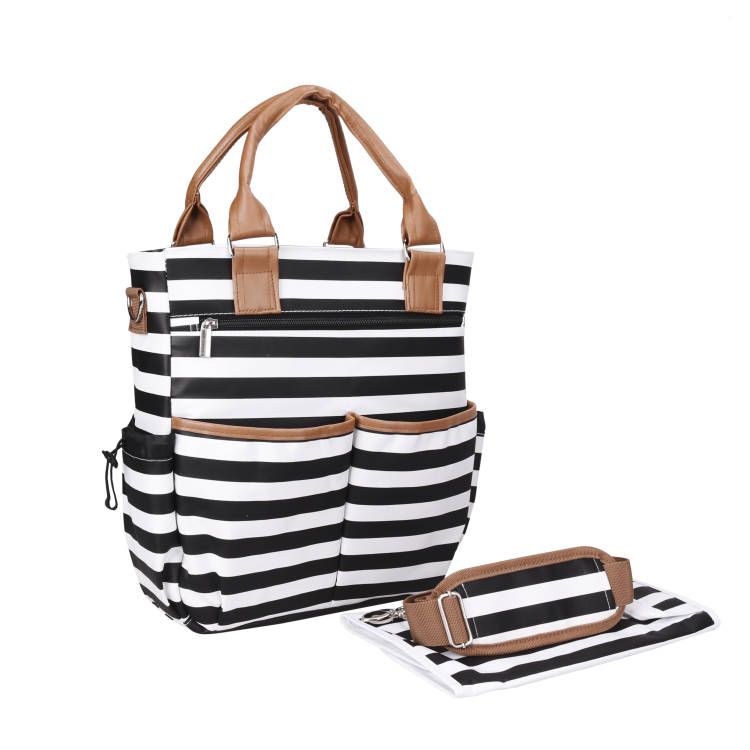 2017 new fashion portable tote black and white stripe baby changing diaper nappy bag backpack 3 in <strong>1</strong> with stroller straps