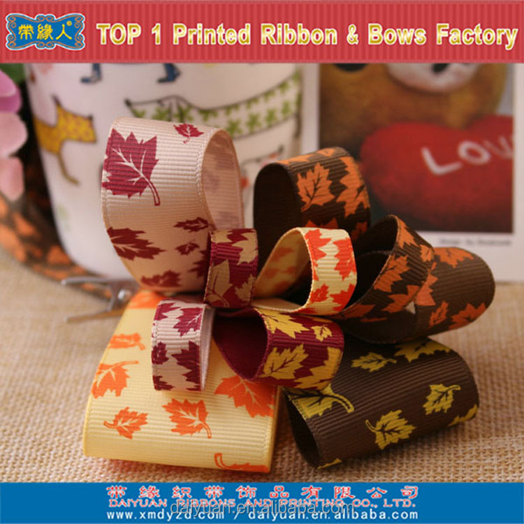Maple leaf polyester grosgrain ribbon