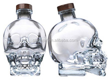 350ml and 750ml and 1000ml high quality flint glass skull bottle for vodka