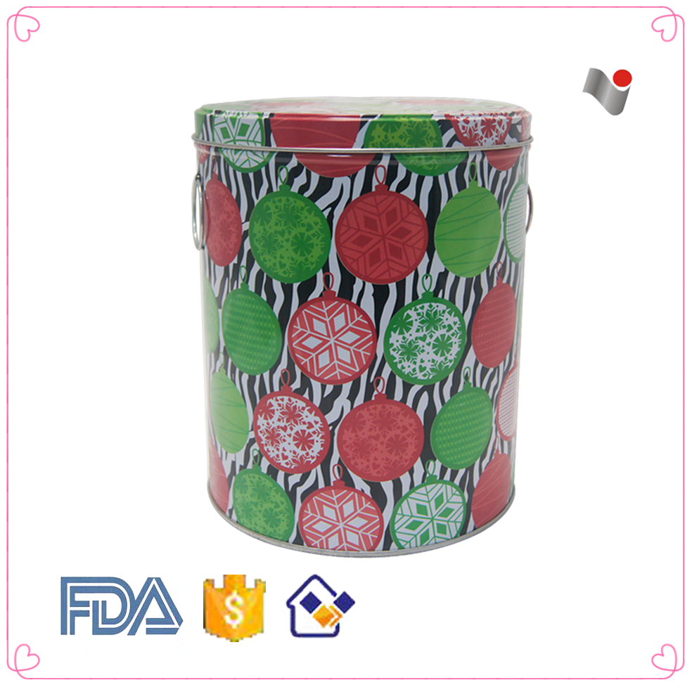 Decorative round christmas popcorn tin can
