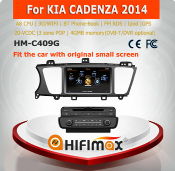 Hifimax for KIA CADENZA 2014 car dvd player gps navi WITH A8 DUAL CORE 1080P WIFI 3G INTERNET DVR