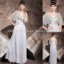 NY-2539 Gray Misisses Sequined Tulle Sleeved Pageant Formal Dress