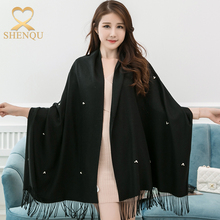 Women winter beaded flower design stole shawls western elegant pashmina ponchos with fashion tassel