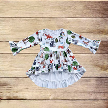 wholesale girls frocks designs latest Children's fall boutique clothing fox and deer print autumn winter hi-low dress